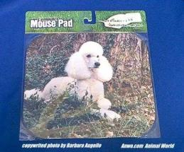 white poodle mouse pad