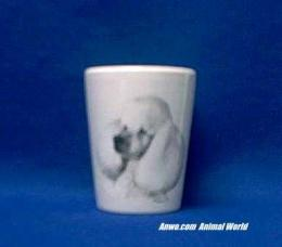 white poodle shot glass
