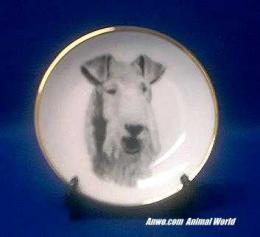 wire hair fox terrier plate porcelain
