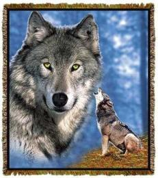wolf blanket throw tapestry afghan face