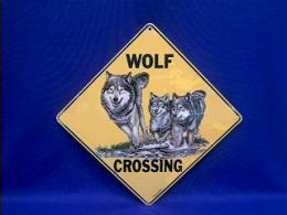 wolf crossing sign