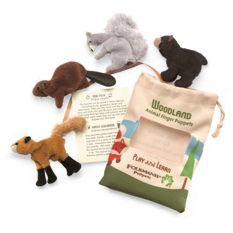 Bear Fox Beaver Squirrel Finger Puppets Set