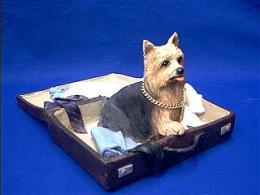 yorkie suitcase figurine