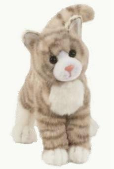 Silver Gray Tabby Cat Plush Stuffed Animal Zipper At Animal World